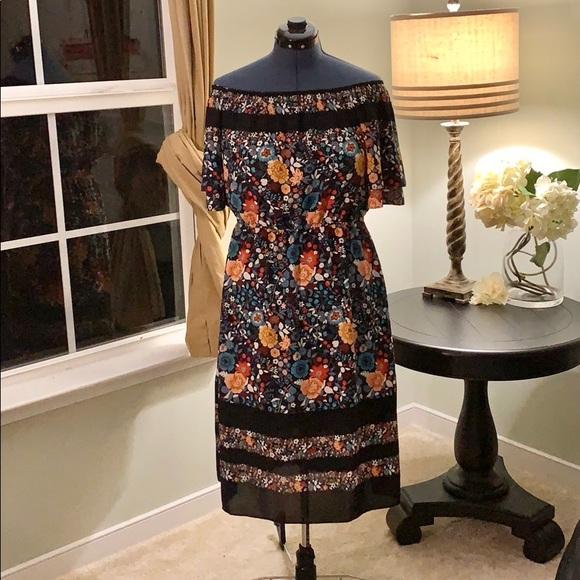 LOFT Dresses & Skirts - LOFT Off Shoulder Fit and Flare Dress NWT Size L